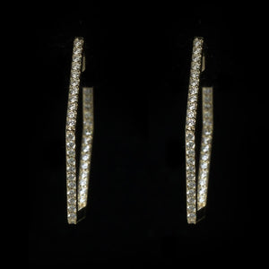 14KT, 100 DIAMOND GEOMETRIC HOOP EARRINGS, 1CT.