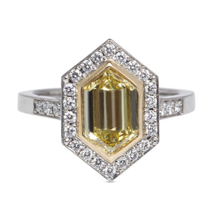 1.32CT YELLOW DIAMOND RING, .35CT BRILLIANT DIAMOND HALO