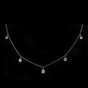 PLATINUM BEZEL-SET ASSCHER CUT DIAMOND NECKLACE