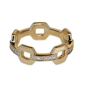 14KT YELLOW GOLD AND DIAMOND LINK RING