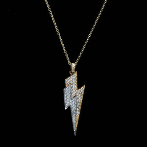 14KT 2-TONE GOLD & DIAMOND LIGHTNING BOLT