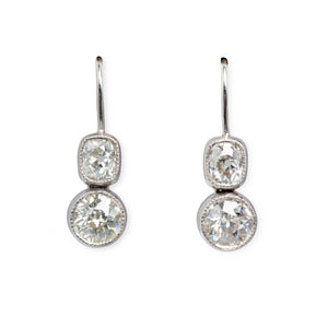2.5CT TWO-STONE DIAMOND EARRINGS, OLD MINE CUT