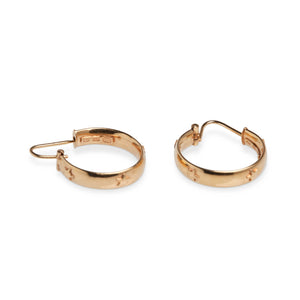 18KT YELLOW GOLD STAR HUGGIE HOOPS