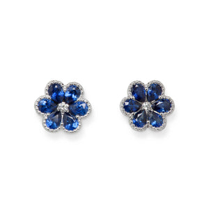 18KT SAPPHIRE & DIAMOND FLOWER EARRINGS