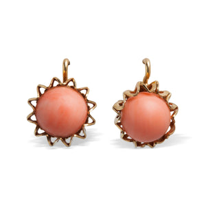 VINTAGE ANGELSKIN CORAL SPHERE EARRINGS