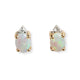 VINTAGE 14KT YELLOW GOLD AND OPAL & DIAMOND EARRINGS