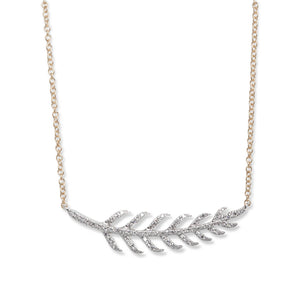 14KT GOLD & DIAMOND FEATHER NECKLACE