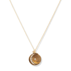 14KT GOLD & DIAMOND CRESCENT MOON ON A CIRCLE PENDANT