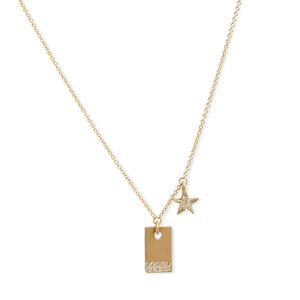 14KT GOLD & DIAMOND RECTANGLE WITH STAR PENDANT