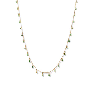 14KT YELLOW GOLD & GREEN GARNET NECKLACE