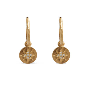14KT HAMMERED YELLOW GOLD DIAMOND STARBURST HUGGIE HOOPS