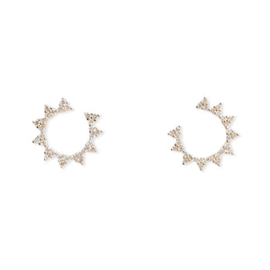 14KT YELLOW GOLD DIAMOND CIRCLE STUDS