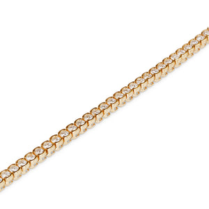 18KT YELLOW GOLD & DIAMOND SEMI BEZEL BRACELET