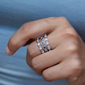 14KT DIAMOND & SAPPHIRE STACKING BAND SET