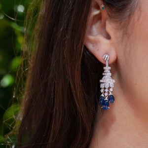 18KT SAPPHIRE & DIAMOND CHANDELIER EARRINGS
