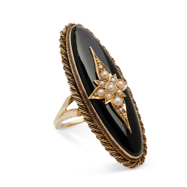 VICTORIAN ONYX, PEARL GOLD RING