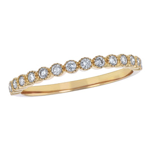 14KT BEZEL SET STACKING BANDS .25CT