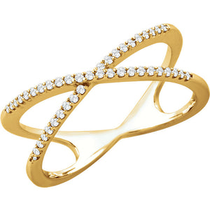 14KT YELLOW GOLD DIAMOND CROSSOVER RING