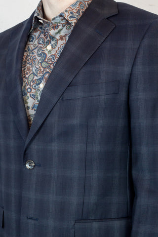 JB Deep Blue Check Suit