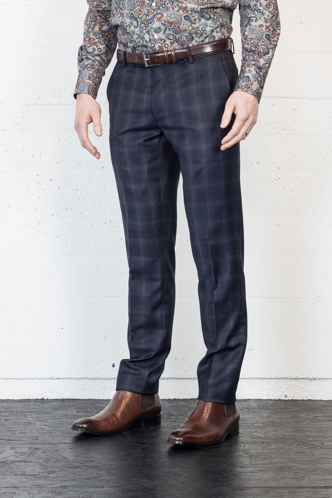 JB Deep Blue Check Dress Trouser