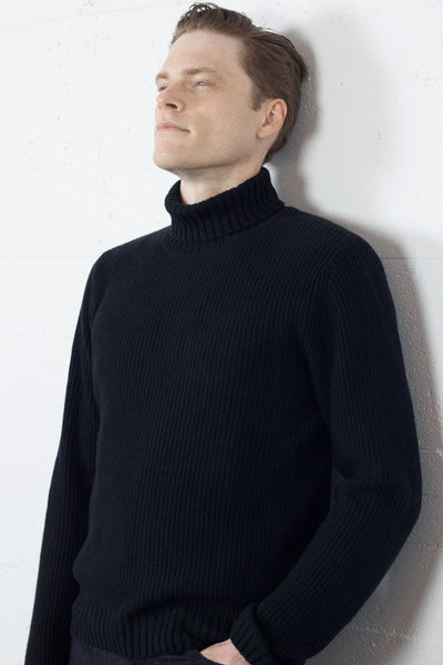 Ribbed Roll Neck Black