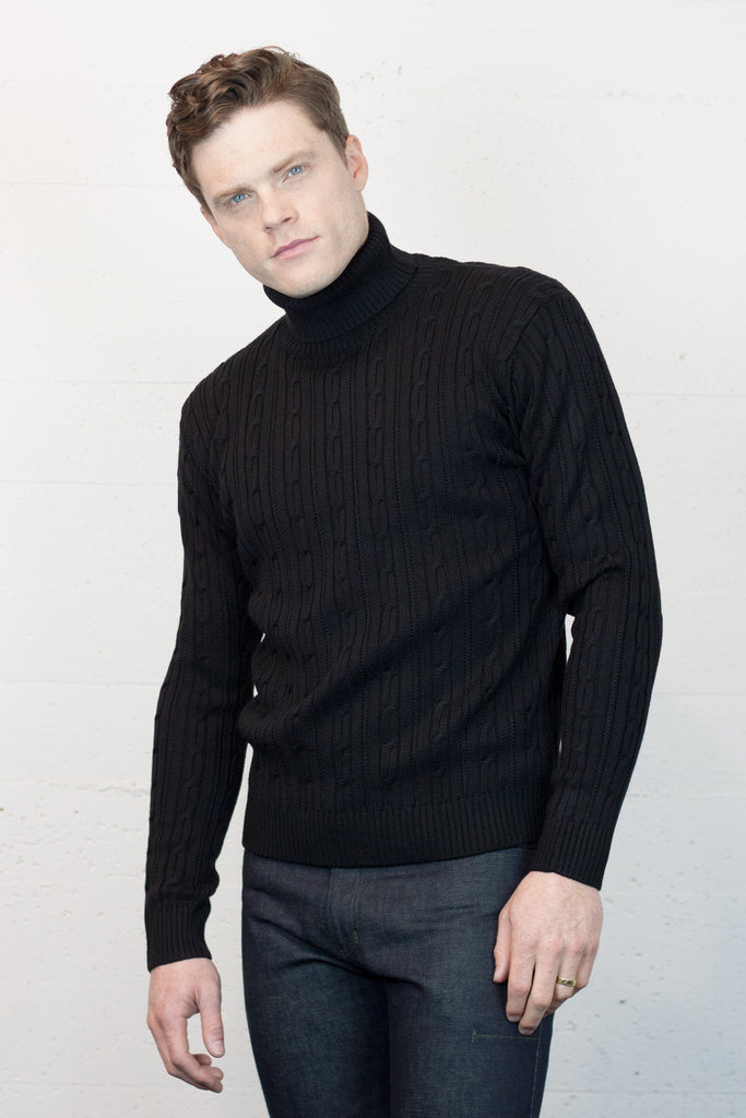 Black Cable Turtle Neck