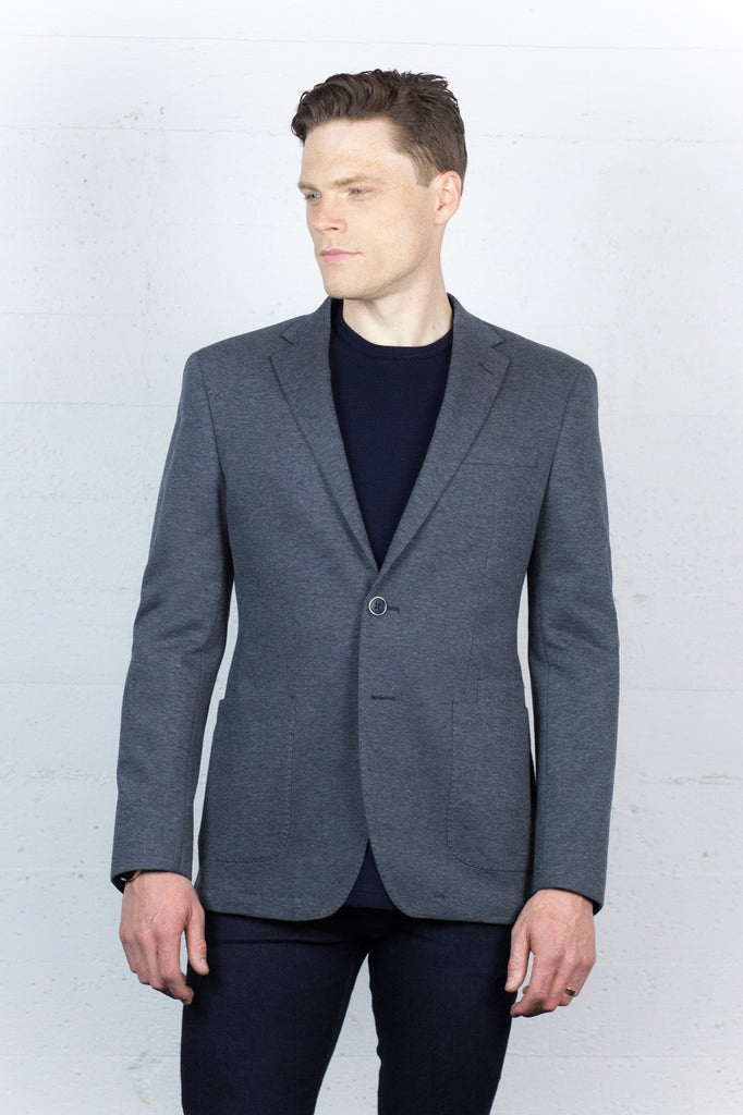 Grey Cotton Blend Blazer