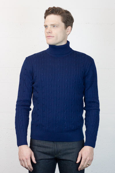 Blue Cable Turtle Neck