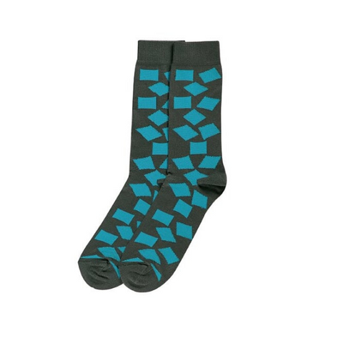 Socks Teal Cubes