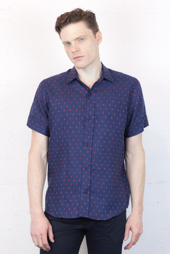 Fairlane Shirt Navy Dot