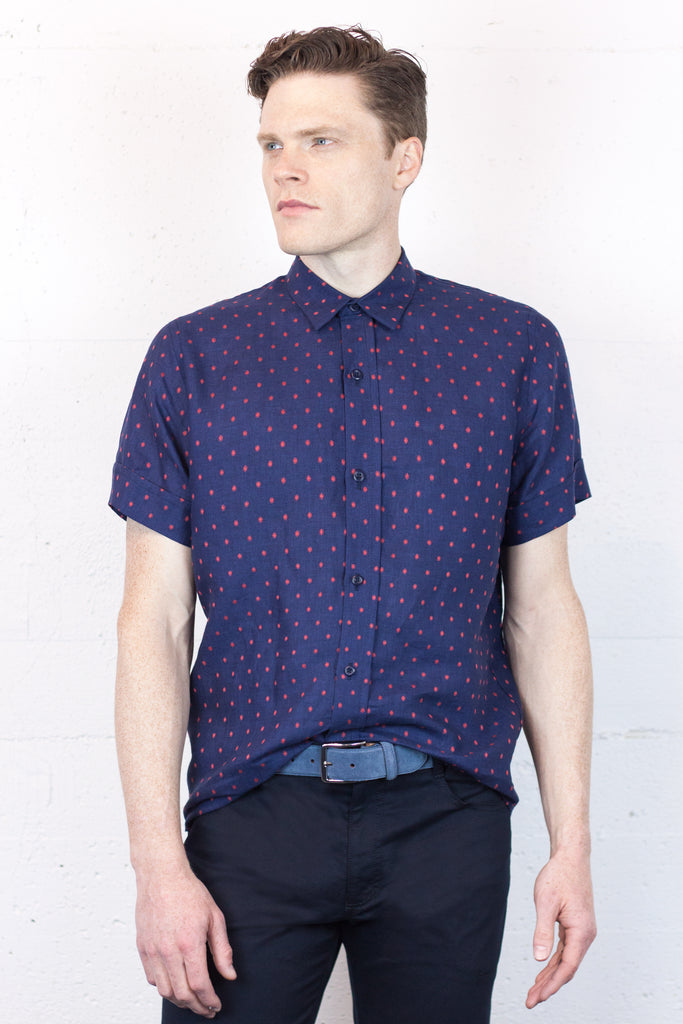 Navy Dot Short Sleeve Shirt