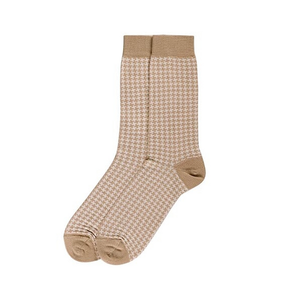 Socks Houndstooth Sand