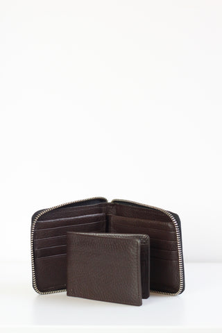 Wallet RFID Zip Around Brown