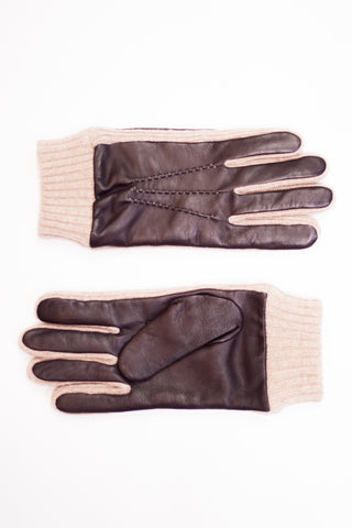 Caramel Leather Rib Knit Gloves
