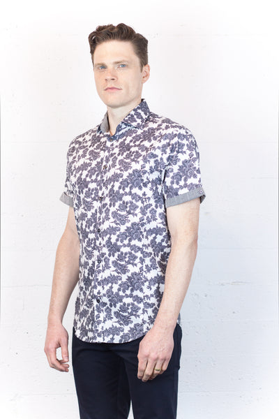 Black + White Roses Short Sleeve Shirt