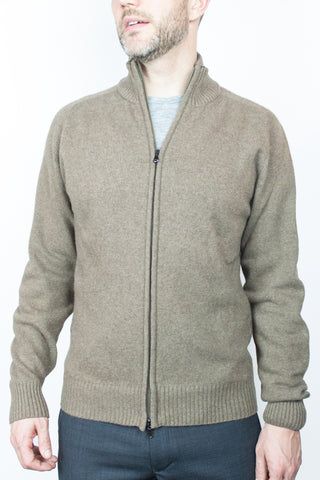 Zip Through Camel Lambswool Jumper