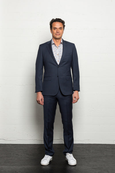 Textured Blue Suit