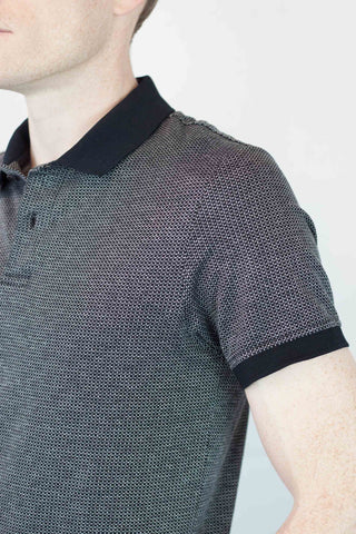 Black + White Grid Polo