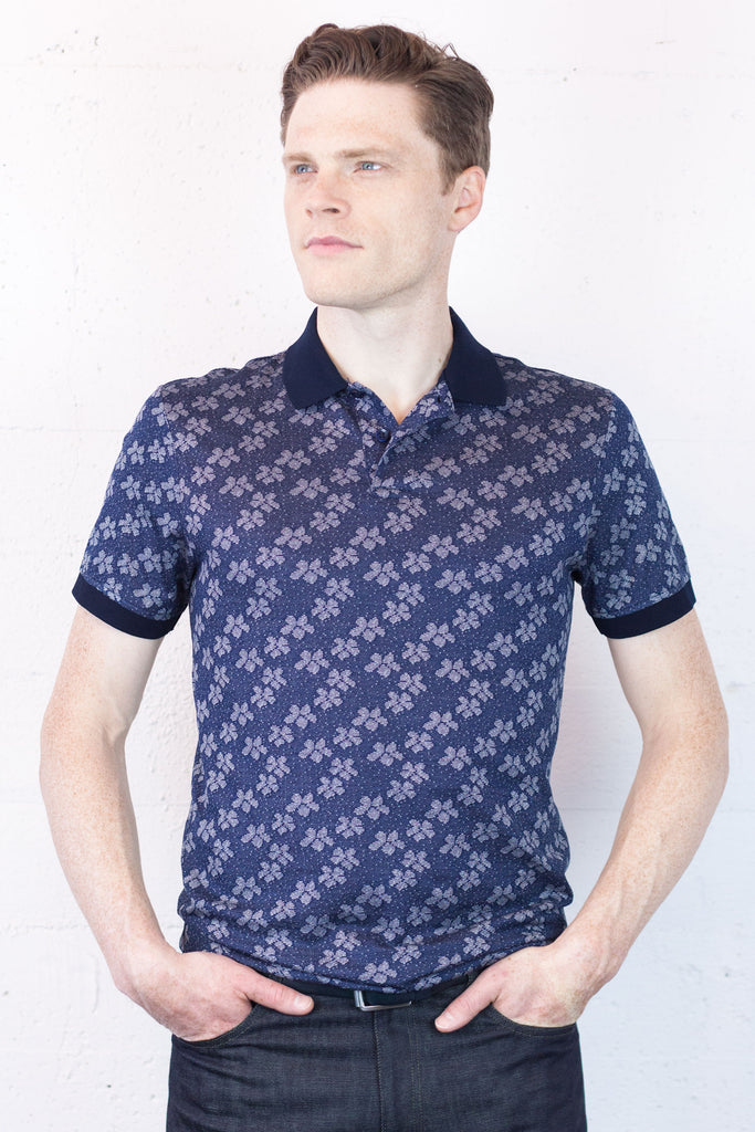 Blue Floral Polo