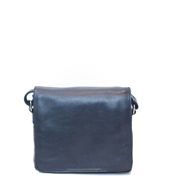 Black Leather Post Bag