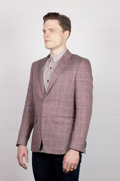 Summer Blazer Linen Cranberry Windowpane