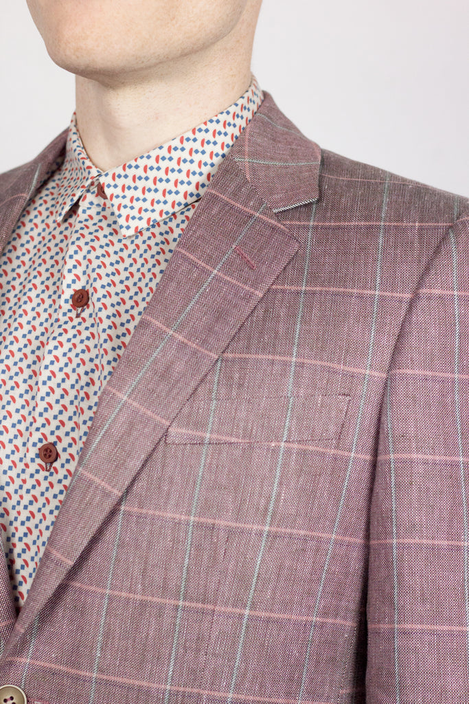 Cherry Windowpane Linen Summer Blazer