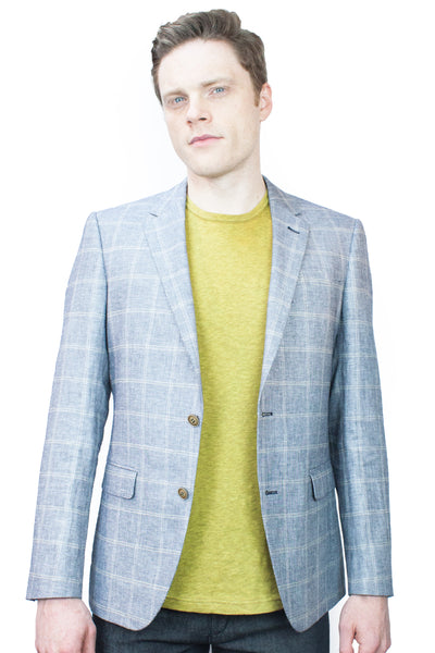 Silver Windowpane Linen Summer Blazer