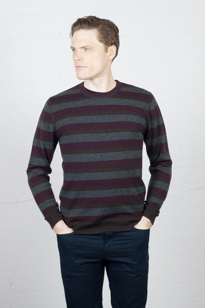 Striped Burgundy Crew