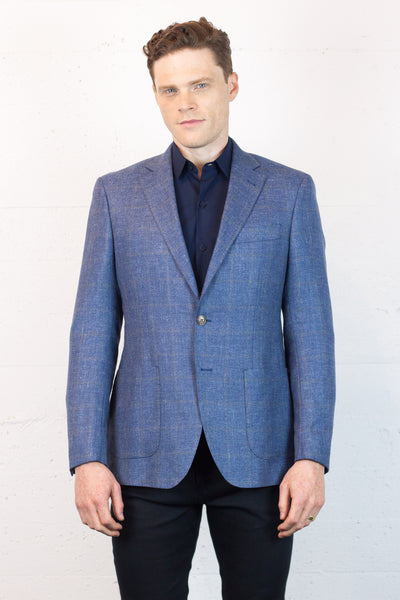 Wool Linen Mix Check Blazer