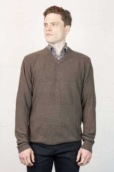 V Neck Walnut Jumper