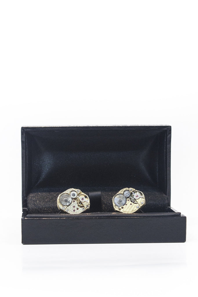 Gold Cog Hexagon Cufflinks