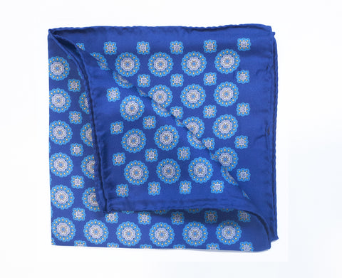 Blue Tile Pocket Square