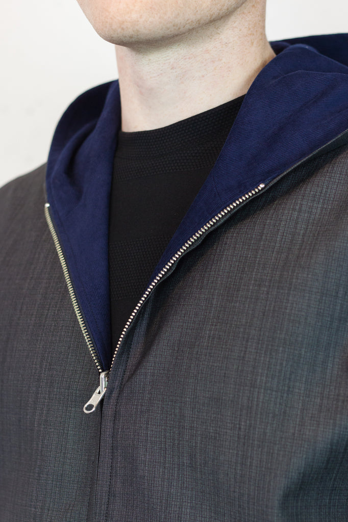 Reversible Jacket Lapis Cord/Charcoal Wool