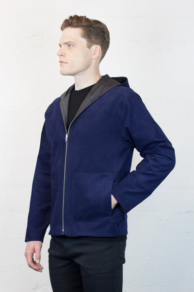 Lapis Cord/Charcoal Wool Reversible Jacket